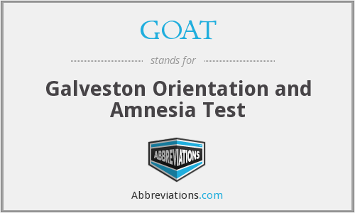 GOAT - Galveston Orientation and Amnesia Test