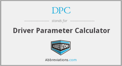DPC - Driver Parameter Calculator