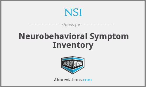 NSI - Neurobehavioral Symptom Inventory