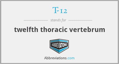 T-12 - twelfth thoracic vertebrum