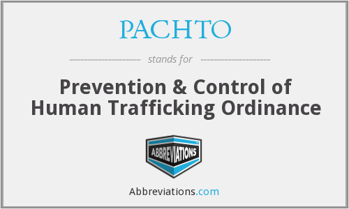 PACHTO - Prevention & Control of Human Trafficking Ordinance