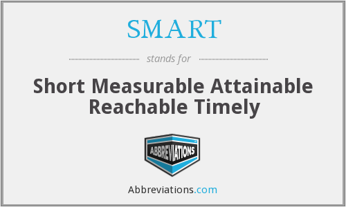 SMART - Short Measurable Attainable Reachable Timely