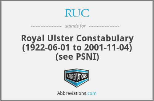 RUC - Royal Ulster Constabulary (1922-06-01 to 2001-11-04) (see PSNI)