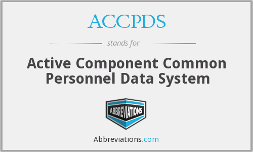 ACCPDS - Active Component Common Personnel Data System