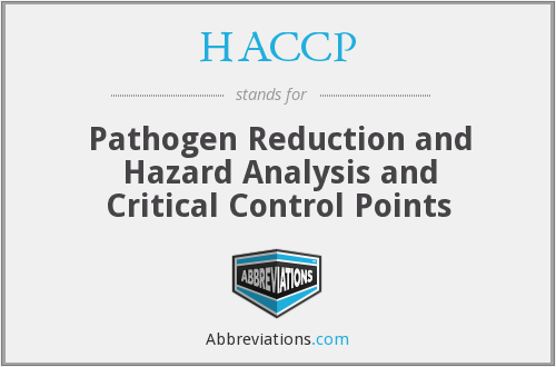 HACCP - Pathogen Reduction and Hazard Analysis and Critical Control Points