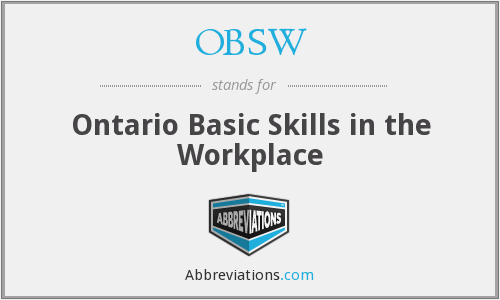 OBSW - Ontario Basic Skills in the Workplace