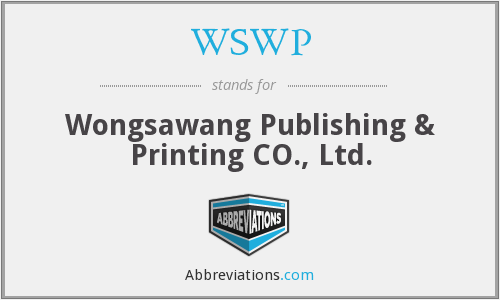 WSWP - Wongsawang Publishing & Printing CO., Ltd.