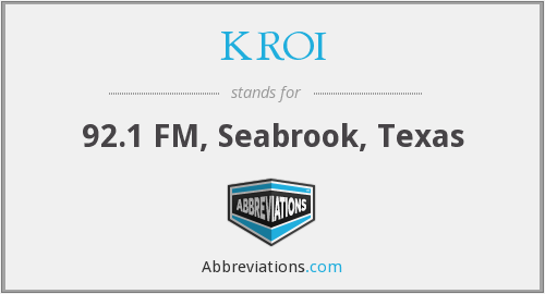 What does KROI stand for?
