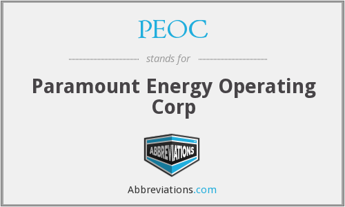 PEOC - Paramount Energy Operating Corp
