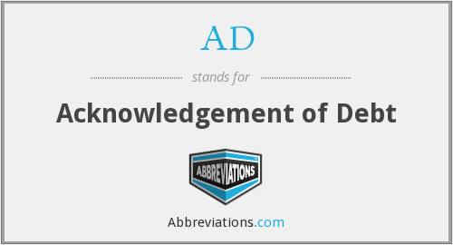AD - Acknowledgement of Debt