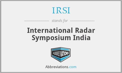 IRSI - International Radar Symposium India