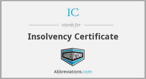 ic - insolvency certificate