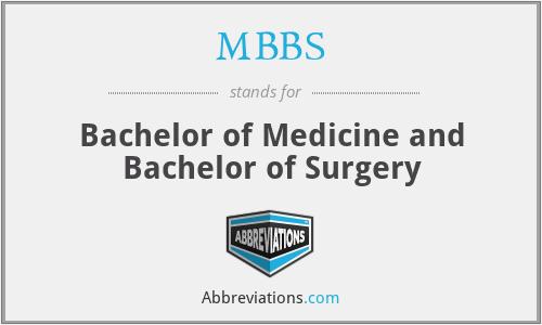 MBBS - Bachelor of Medicine and Bachelor of Surgery