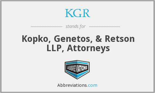 What does KGR stand for?