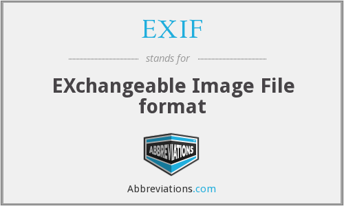 EXIF - EXchangeable Image File format
