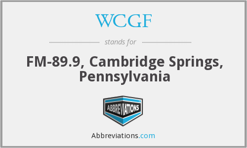 WCGF - FM-89.9, Cambridge Springs, Pennsylvania