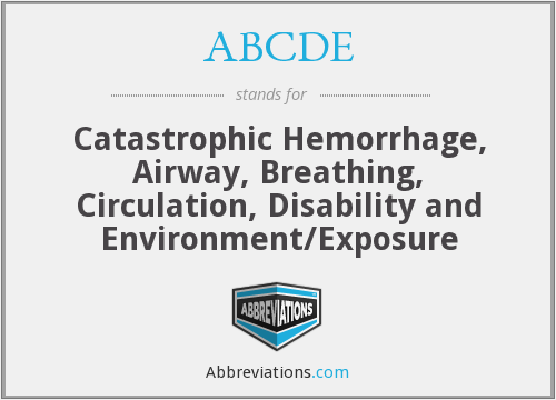 ABCDE - Catastrophic Hemorrhage, Airway, Breathing, Circulation, Disability and Environment/Exposure