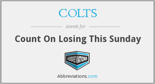 COLTS - Count On Losing This Sunday