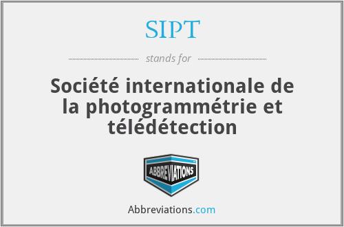 SIPT - Société internationale de la photogrammétrie et télédétection