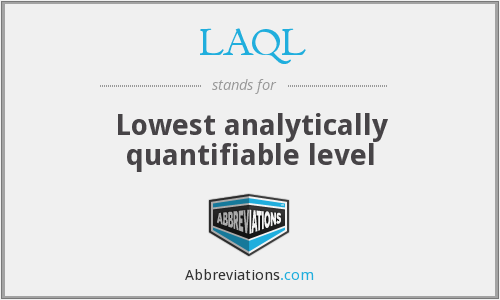LAQL - Lowest analytically quantifiable level
