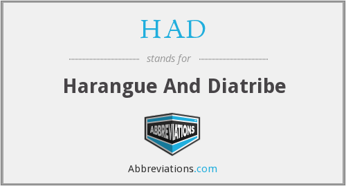 What does harangue stand for?