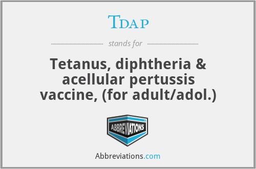Tdap - Tetanus, diphtheria & acellular pertussis vaccine, (for adult/adol.)