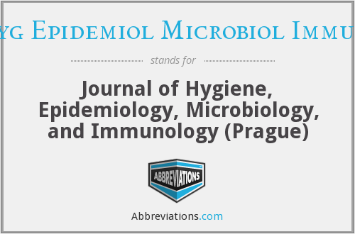 What does J HYG EPIDEMIOL MICROBIOL IMMUNOL stand for?