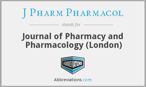 J Pharm Pharmacol - Journal of Pharmacy and Pharmacology (London)