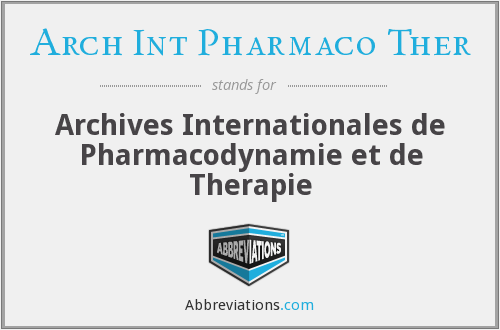 What does ARCH INT PHARMACO THER stand for?