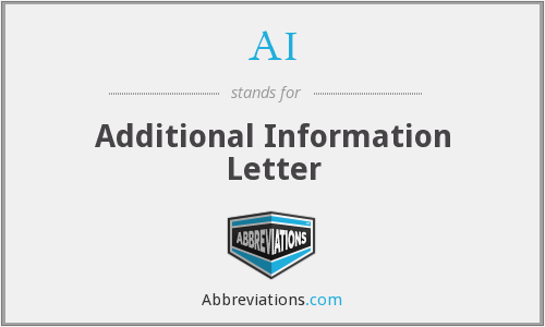 AI - Additional Information Letter