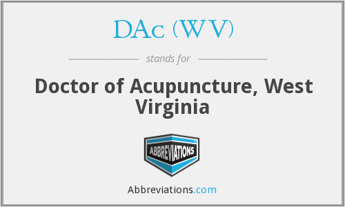DAc (WV) - Doctor of Acupuncture, West Virginia