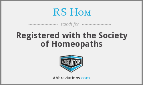 RS Hom - Registered with the Society of Homeopaths