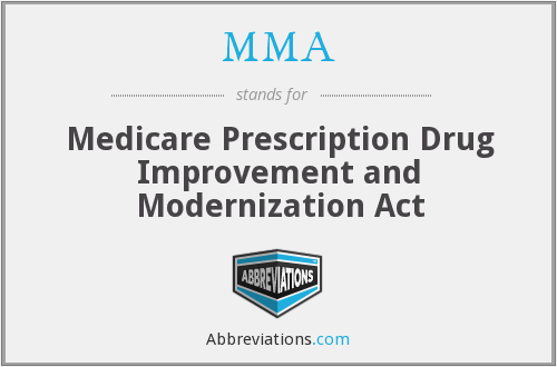 MMA - Medicare Prescription Drug Improvement and Modernization Act