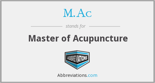 M.Ac - Master of Acupuncture