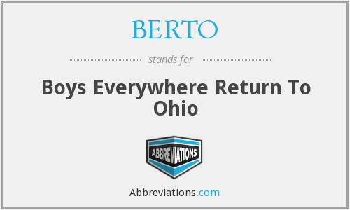 BERTO - Boys Everywhere Return To Ohio, by; Hayward C. Beach