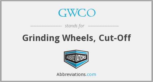GWCO - Grinding Wheels, Cut-Off