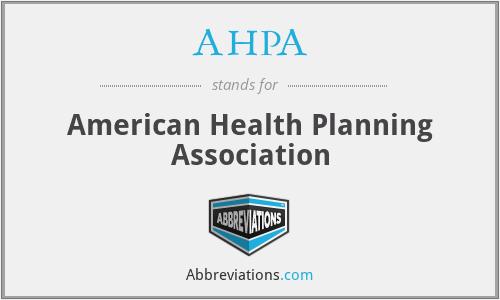 AHPA - American Health Planning Association