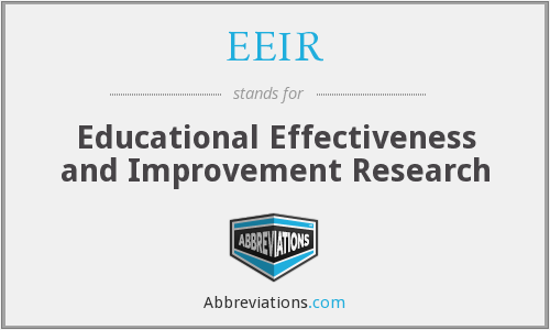 EEIR - Educational Effectiveness and Improvement Research