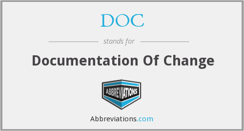 DOC - Documentation Of Change