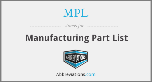 MPL - Manufacturing Part List