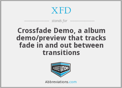 XFD - Crossfade Demo, a album demo/preview that tracks fade in and out between transitions