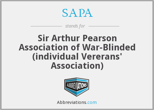 SAPA - Sir Arthur Pearson Association of War-Blinded (individual Vererans' Association)