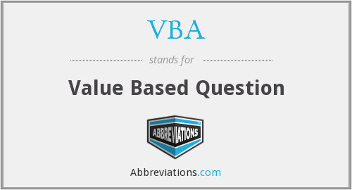 VBA - Value Based Question