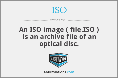 ISO - An ISO image ( file.ISO ) is an archive file of an optical disc.