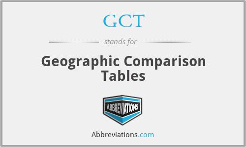 GCT - Geographic Comparison Tables