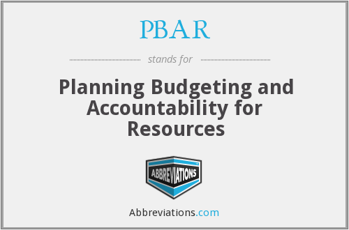 PBAR - Planning Budgeting and Accountability for Resources