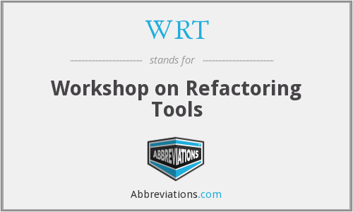 WRT - Workshop on Refactoring Tools