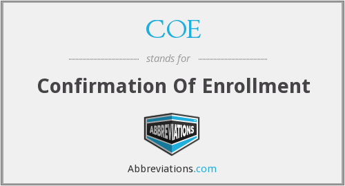 COE - Confirmation of Enrolment