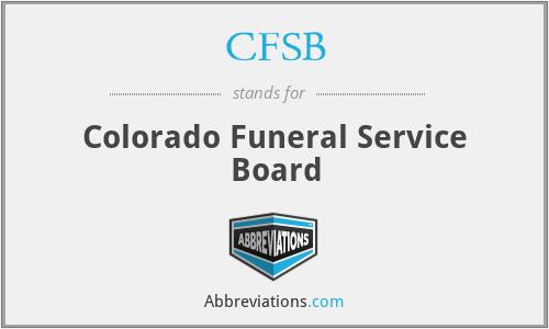 CFSB - Colorado Funeral Service Board
