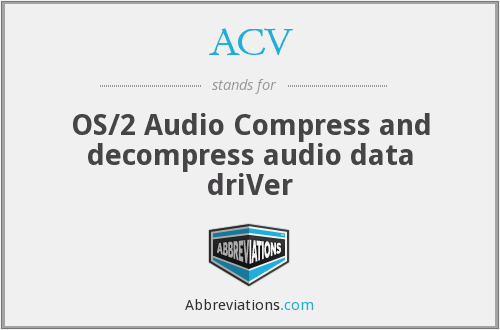 ACV - OS/2 Audio Compress and decompress audio data driVer